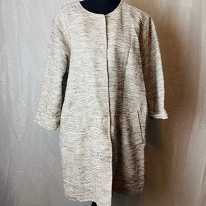 Eileen Fisher cream and black marled long blazer~M